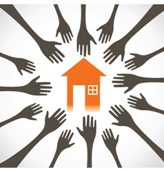 every hand try to catch the house vector image vector image