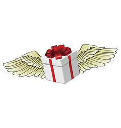 gift flying with feathered wings vector image vector image