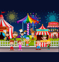 many childrens and people worker having fun vector image