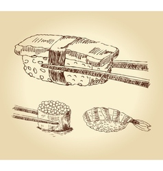 set of hand drawn sushi vector image