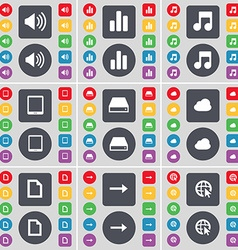 Sound Diagram Note Tablet PC Hard drive Cloud File vector image vector image