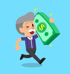 Cartoon senior man carrying big money stack vector image vector image