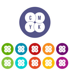 cmyk circles set icons vector image