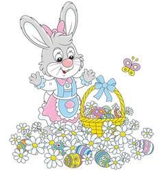 Easter egg hunt in flowers vector