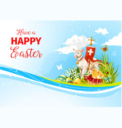 easter greeting paschal passover lamb card vector image vector image
