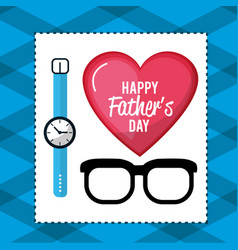 father day card with glasses and watch decoration vector image vector image