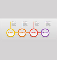 horizontal steps timeline infographics - can vector image vector image