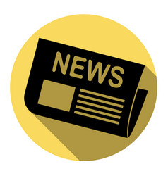 newspaper sign flat black icon with flat vector image