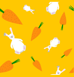 seamless pattern of carrots and bunny vector image vector image