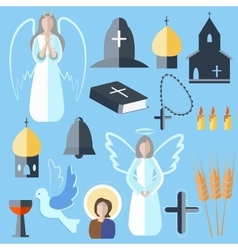 Set theme religion angel bell church dove vector image vector image