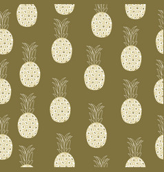 vintage pineapple seamless pattern retro style vector image vector image