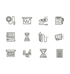 Business tactic black line icons collection vector image vector image