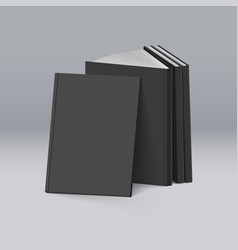 stack of blank black books on mockup template vector image vector image