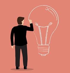 Businessman drawing lightbulb on wall vector image vector image