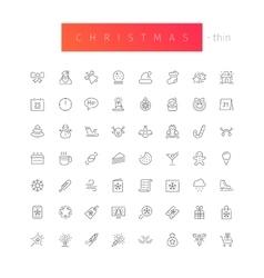 Christmas thin icons set vector