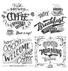 Coffee and cocoa for breakfast hand lettering set vector image vector image