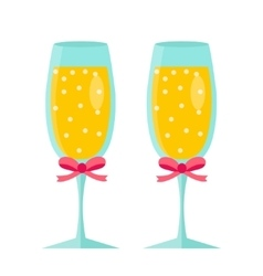 Glasses of champagne icon flat design Isolated vector image vector image