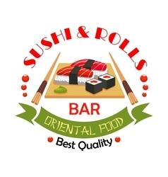 Sushi bar japanese food restaurant sign design vector image vector image