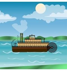Vintage steamboat sailing down Mississippi river vector image