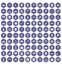 100 different gestures icons hexagon purple vector