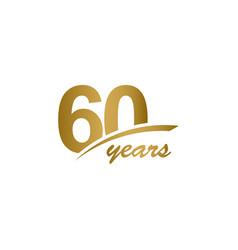 60 years anniversary elegant gold line vector