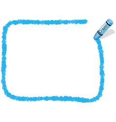 A blue crayon message frame vector
