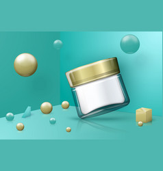 abstract scene and transparent cosmetic jar vector image