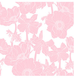 anemone seamless pattern pink line flowers vector image