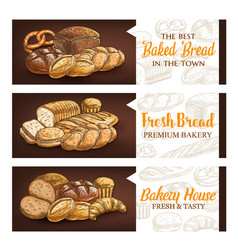 bakery and pastry shop products banners vector image