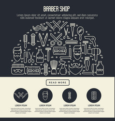 barber shop concept in half circle vector image