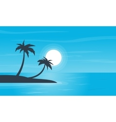 Beach and palm scenery of silhouettes vector