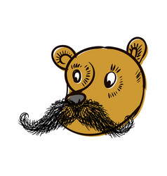 bear with mustache head of wild beast on white vector image