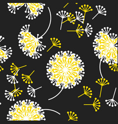 black and white dandelion flowers pattern vector image