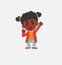 Black girl cheering enthusiastically vector
