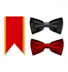 Bow tie and red ribbon vector