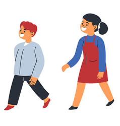 boy and girl smiling and walking happy children vector image