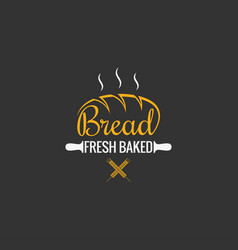 Bread logo design bakery sign on black background vector