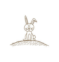 brown contour graphic of bunny sitting in hill vector image