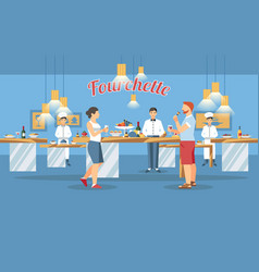 Buffet table concept flat vector