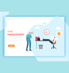 Business overtime landing page template vector
