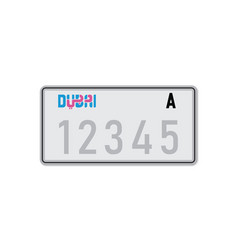 Car number plate dubai vehicle registration vector