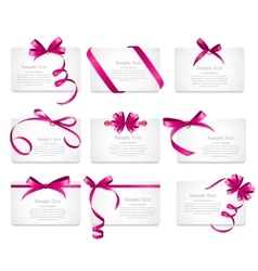 Card with Pink Ribbon and Bow Set vector