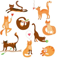 Cats funny set cartoons vector image