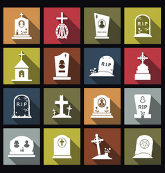 Cemetery crosses and gravestones flat icons with vector