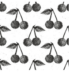 Cherries hand drawn seamless pattern fruits vector