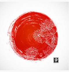 Chrysanthemum flowers and red sun in oriental vector
