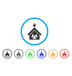 Church people rounded icon vector