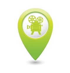 cinema icon green map pointer vector image