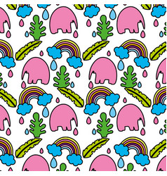 color elephant with leaves and rainbow cloud vector image
