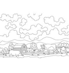 Coloring eco farming meadow eco vector